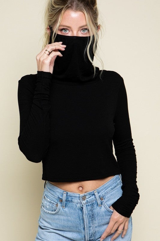 Black Selena Mask Basic Long Sleeve Cropped Top