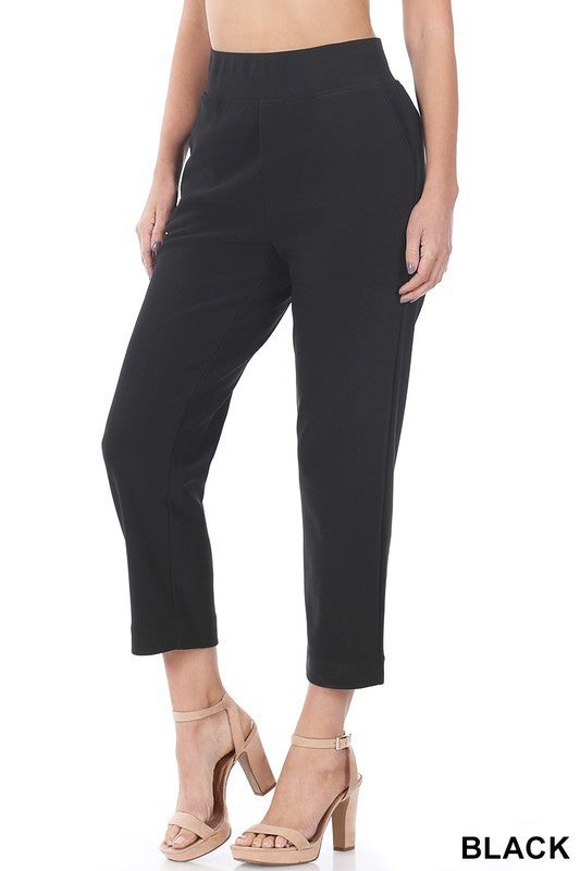 Black Cropped Stretch Pull-On Pocketed Dress Pants