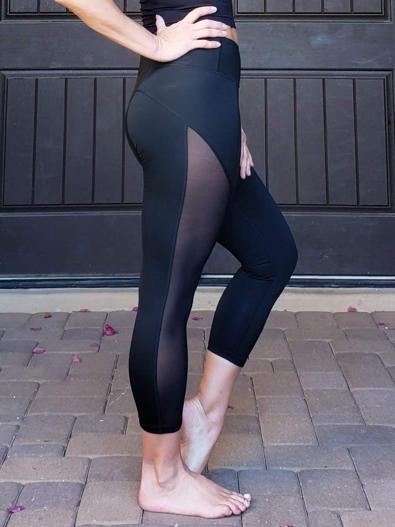 Black Active Mesh Side Workout Capri Leggings