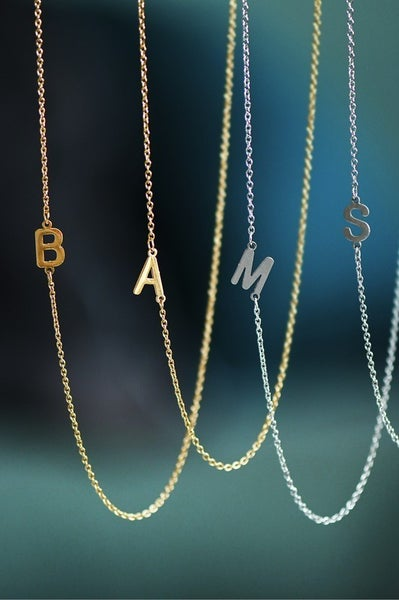 "Dainty Sideways Initial 16"" Necklace"