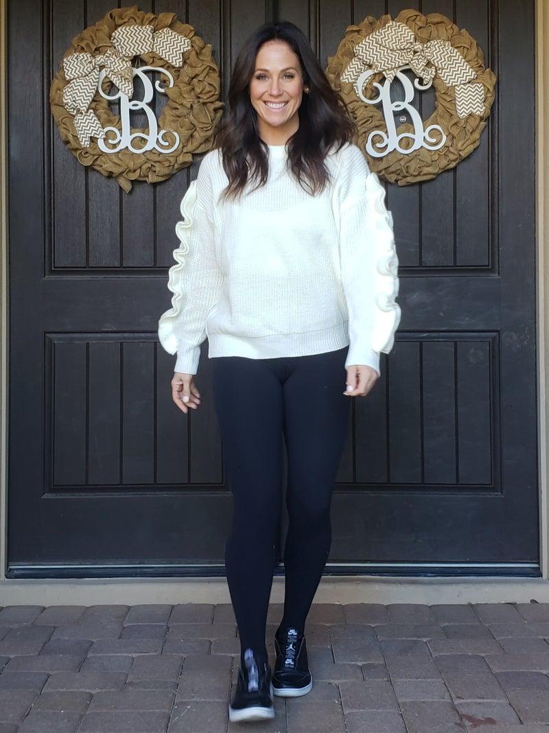 Off White Ruffled Sleeve Sweater