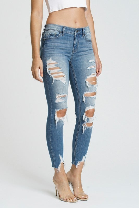 Josie Medium Wash Mid Rise Destroyed Skinny Jeans