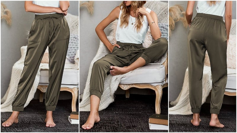 Satin Relaxed Fit Pocketed Joggers