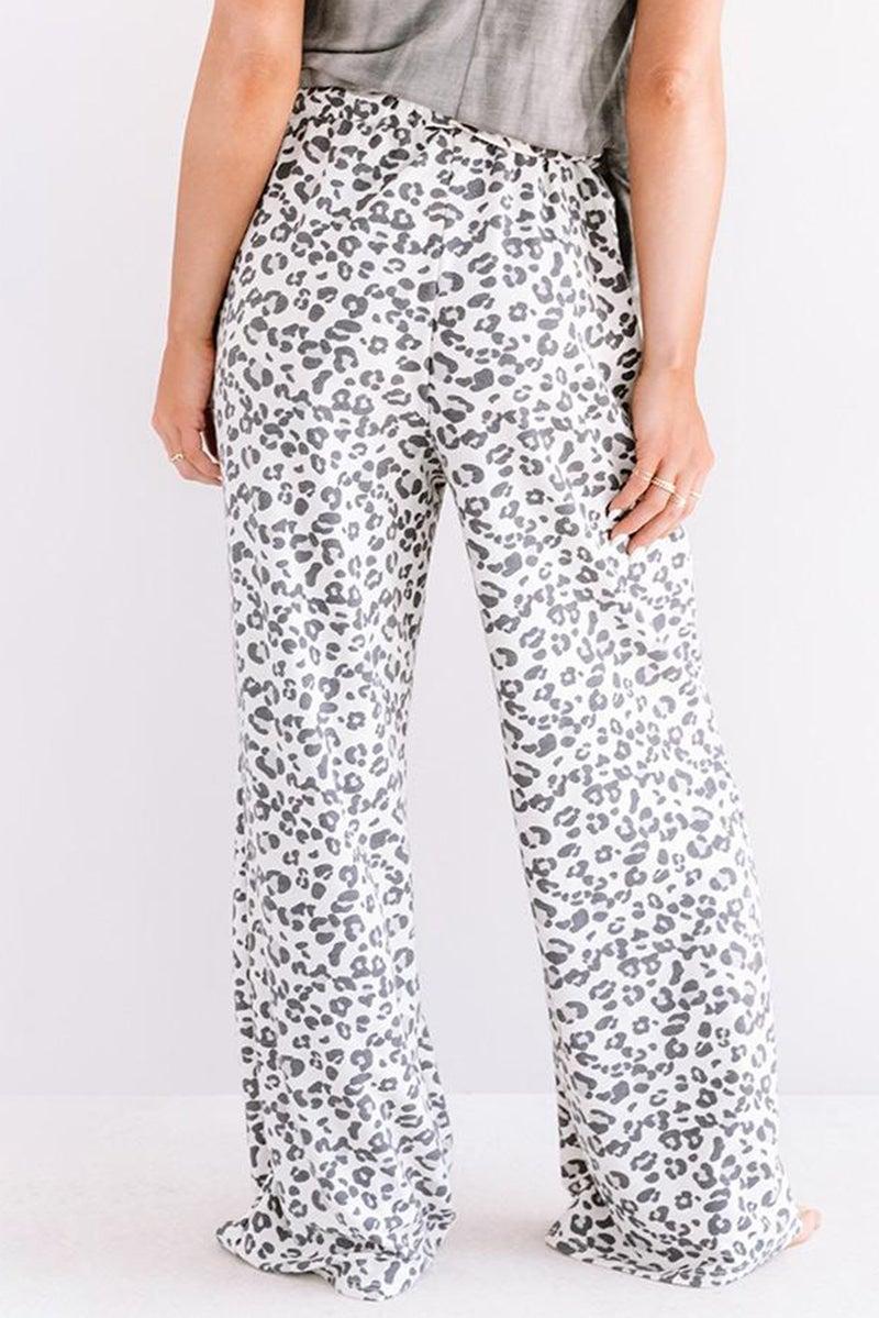White & Grey Snow Leopard Wide Leg Loose Fit Pants