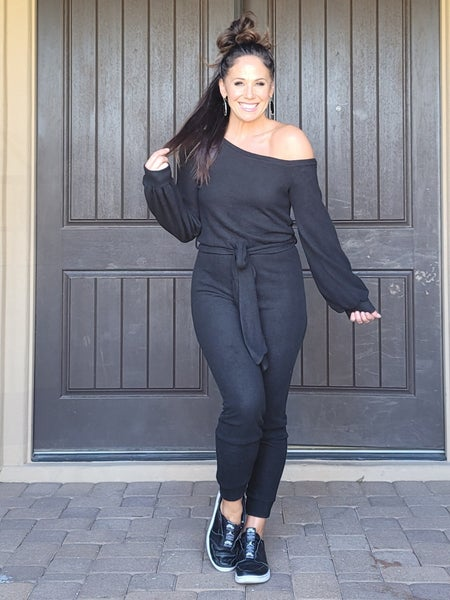 Black Casual Off the Shoulder Long Sleeve Tie Belt Hacci Jogger Jumpsuit