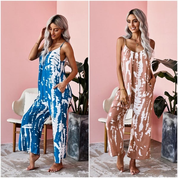 Tie Dye Baggy Wide Leg Semi Cropped Boho Jumpsuit