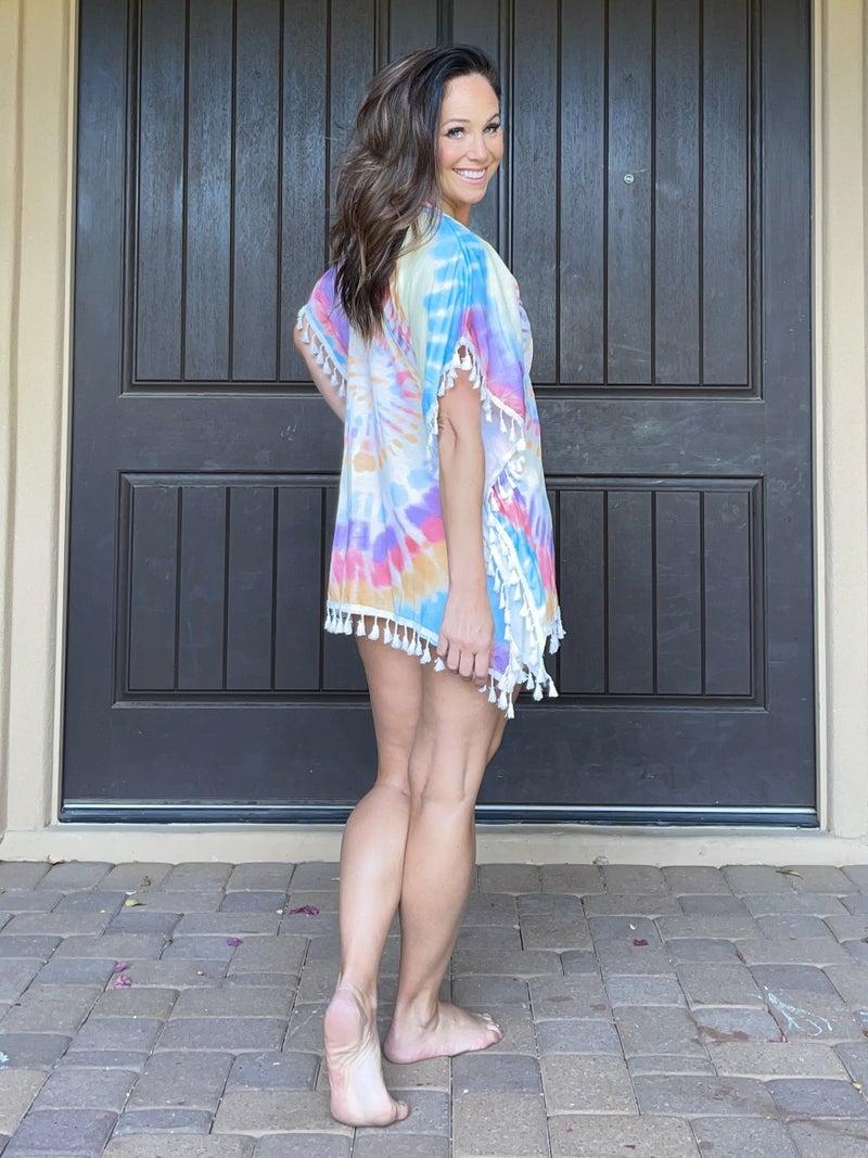 Tie Dye Multicolor Tassle  Beach Coverup