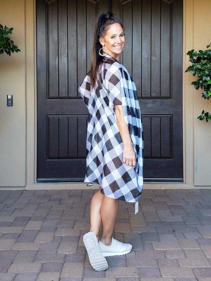 Buffalo Plaid Sheer Kimono
