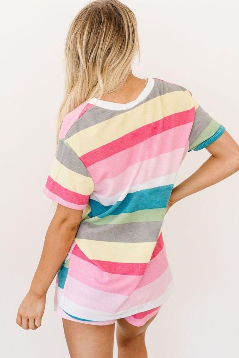 Aurora Striped V-Neck Top & Drawstring Shorts Summer Lounge Set