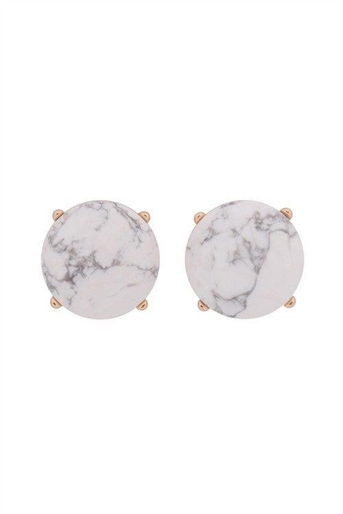 White Marble Stone Gold Stud Earrings