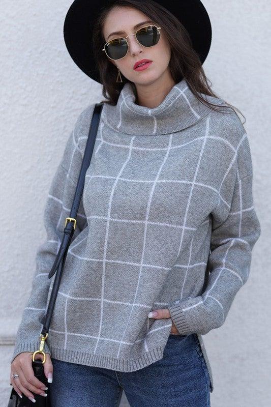 Grid Pattern Oversized Turtleneck Sweater