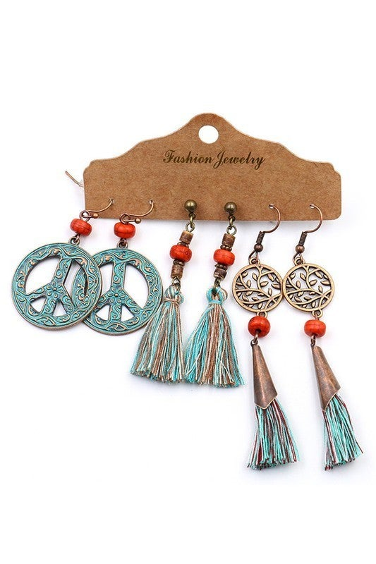 3 Piece Vintage Boho Dangle Earring Set