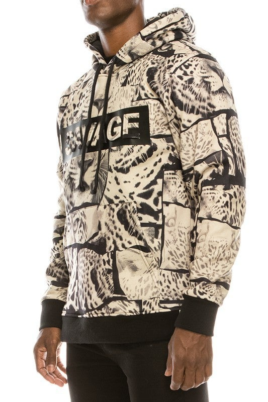 Tan Mens SAVAGE Leopard Fleece Pullover Hoodie