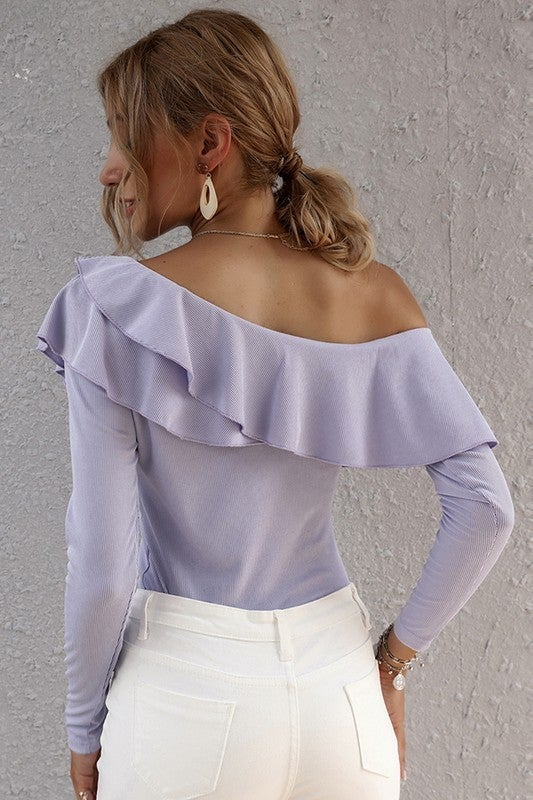 Lavender Flouncing One Shoulder Long Sleeve Top