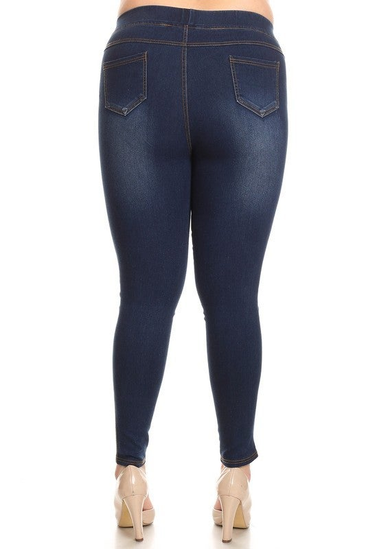 Dark Wash Whiskered High Waisted Distressed Jeggings
