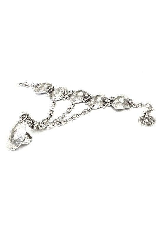 Pewter Hand Chain Ring Bracelet
