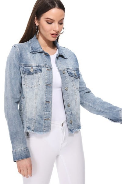 Light Wash Raw Frayed Hem Button Front Denim Jacket