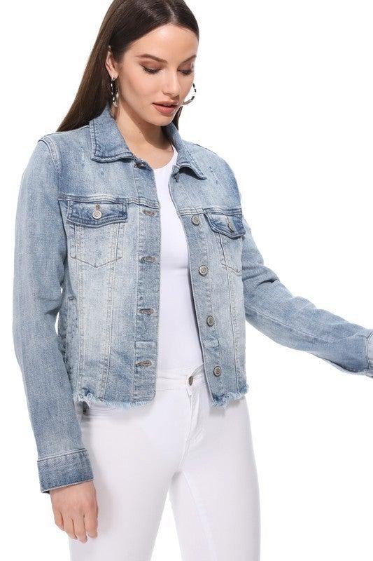 Light Wash Raw Frayed Hem Button Front Denim Jacket