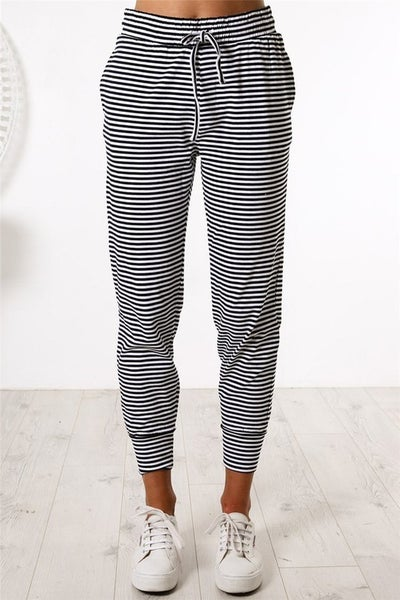 Black & White Stripe Casual Skinny Fit Joggers with Pockets