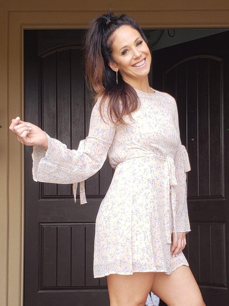 Blush Floral Long Sleeve Open Back Chiffon Tie Sleeve & Waist Dress