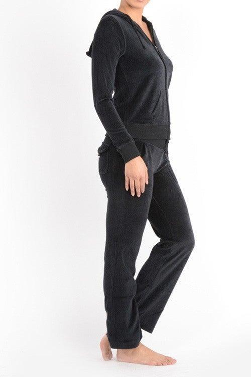 Black Velour Zip Up Hoodie and Pants Track Suite Set