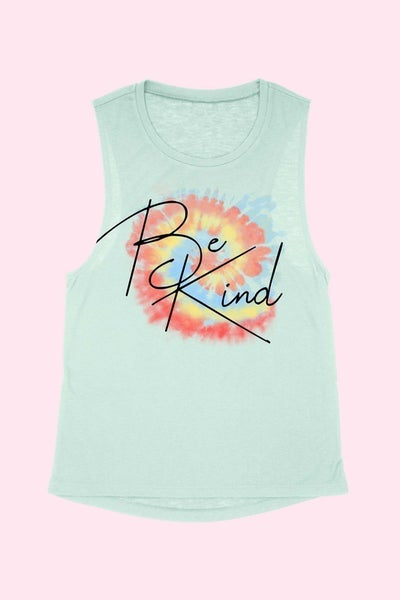 Sage BE KIND Tie Dye Swirl Muscle Tank