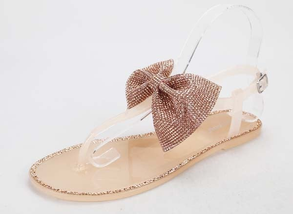 Nude Rhinestone Bow Jelly Sandals