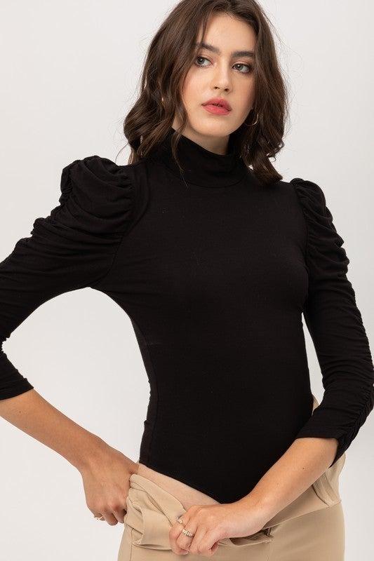 Black Ruched Long Sleeve Mock Neck Bodysuit