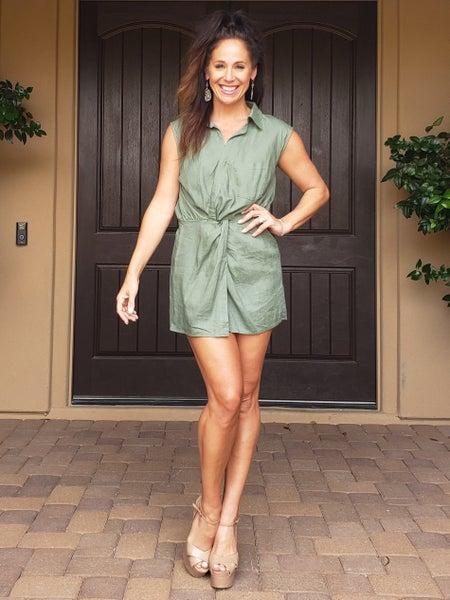 Olive V Neck Sleeveless Elastic Waist Romper Dress