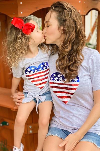 Mommy & Me Patriotic Sequin Heart Flag Tie Front Tee