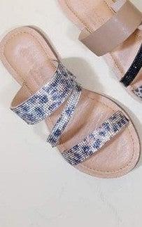 Leopard Rhinestone 3 Strap Sandals