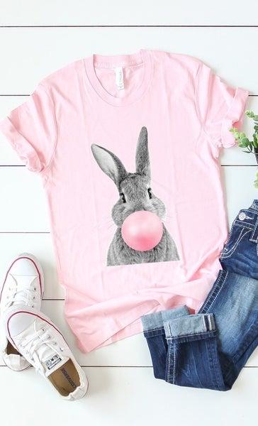 Pink Bubble Gum Bunny Tee