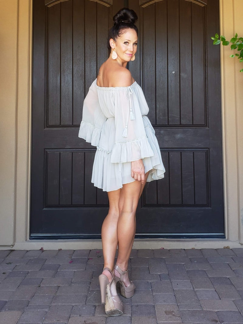 Sage Off the Shoulder Tie Waist Mini Dress