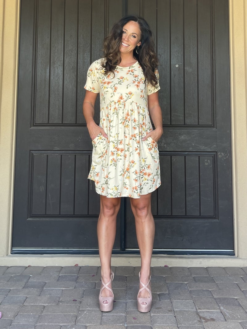 Cream Floral Empire Waist Pocket Dress