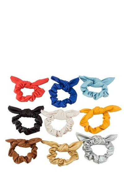 Surprise Faux Leather Bunny Bow Scrunchie