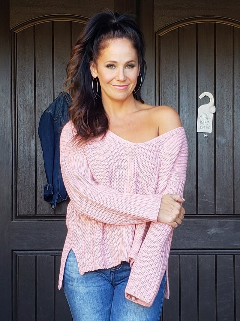 V Neck Long Sleeve Side Slit Sweater