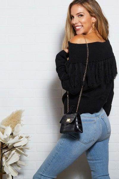 Black Off the Shoulder Fringe Sweater