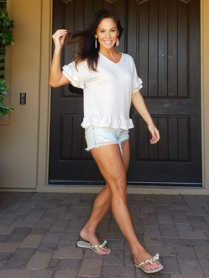 Oatmeal Classic Tiered Short Bell Sleeve V-Neck Ruffle Bottom Top