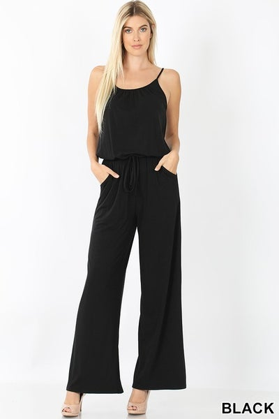 Black Spaghetti Strap Wide Leg Jumpsuit with Pockets