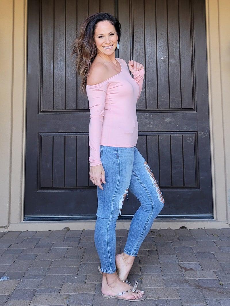 Light Pink Long Sleeve One Shoulder Rib Knit Top