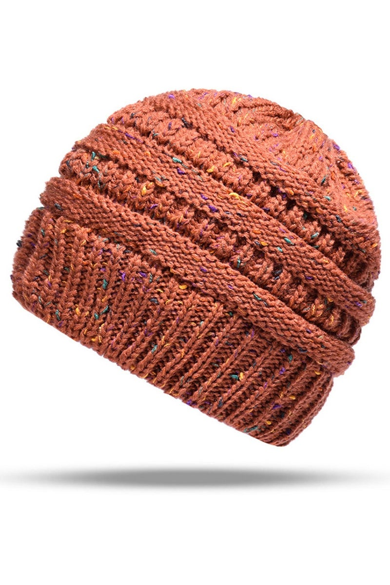 Fall Brown Speckled Knitted Ponytail Beanie