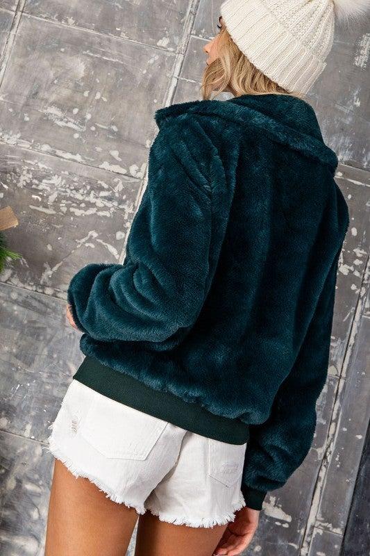 Hunter Green Faux Fur Zip Up Bomber Jacket