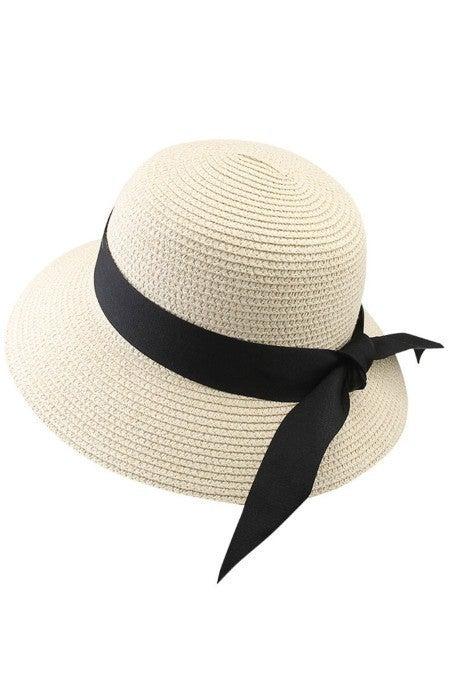 Beige Beach Sun Medium Brim Straw Hat