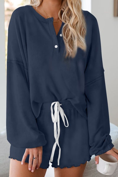 Cotton Blend Long Sleeve Slouchy Dutton Detail Scallopped Hem Shorts Lounge Set