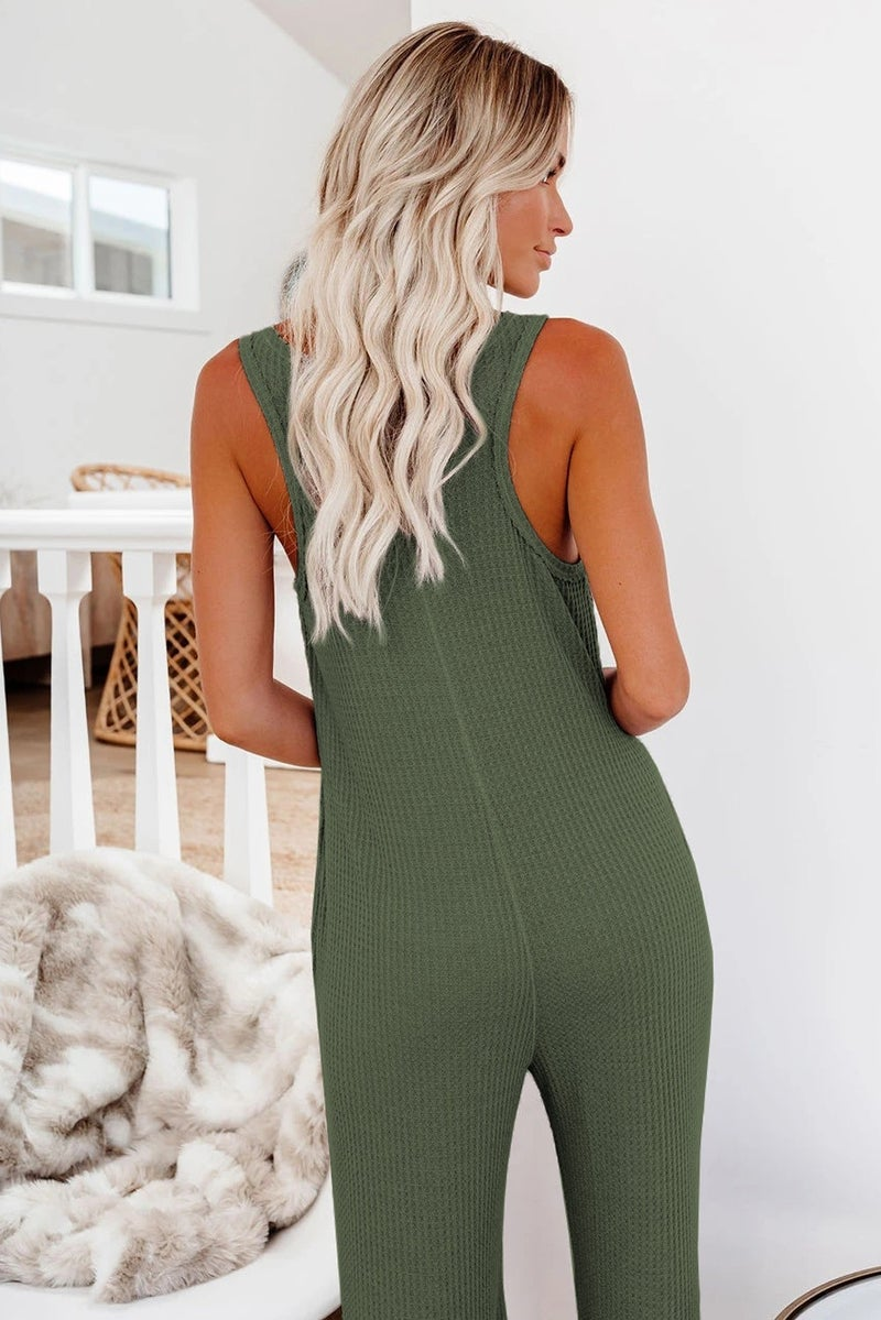 Thermal Pocketed Sleeveless Cropped Jumpsuit