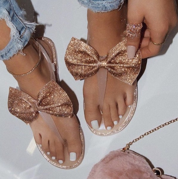 Nude Rhinestone Bow Jelly Sandals *Final Sale*