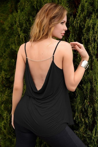 Black Cowl Neck Spaghetti Strap Scoop Back Chain Detail Tank