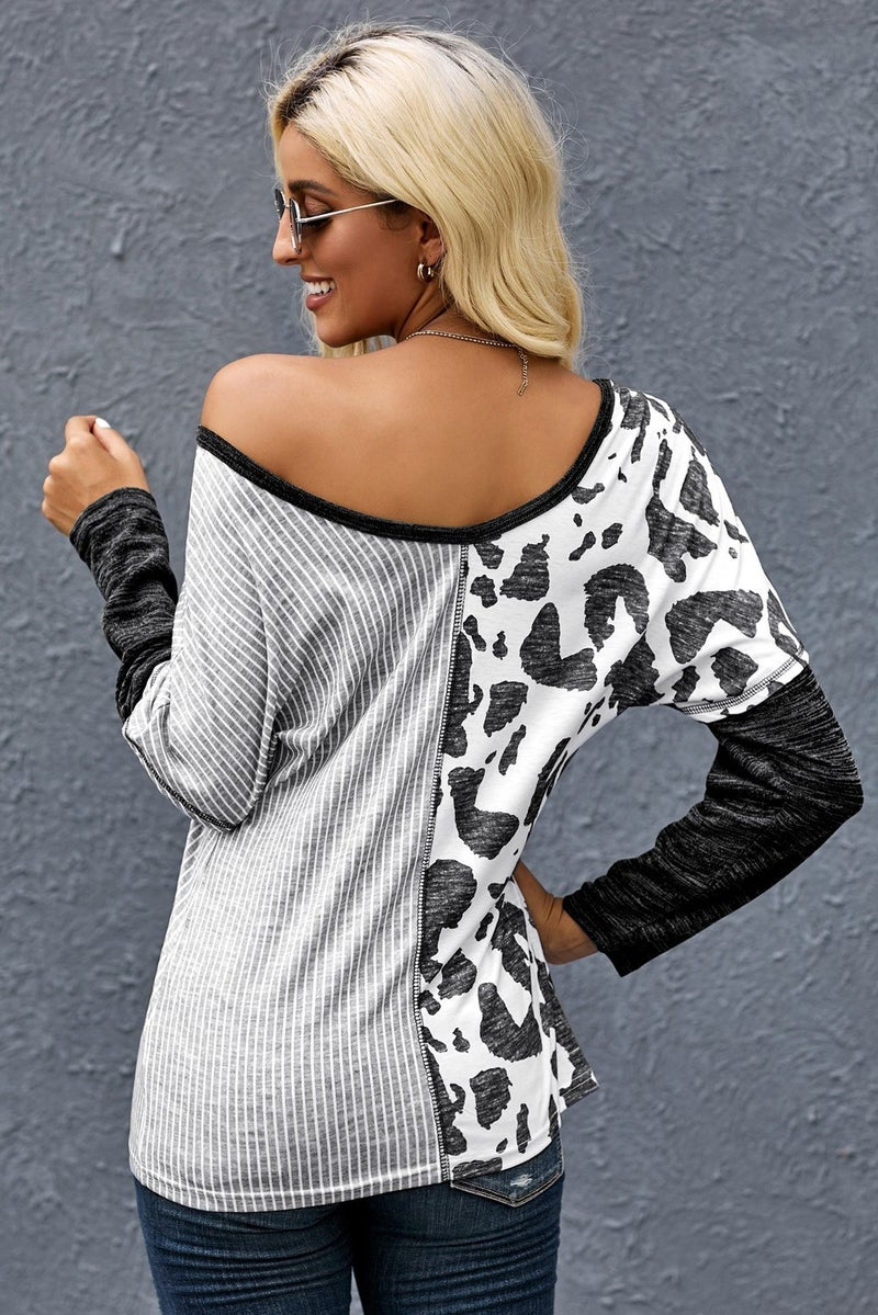Grey Black & White Colorblock Stripes & Print Long Sleeve Top