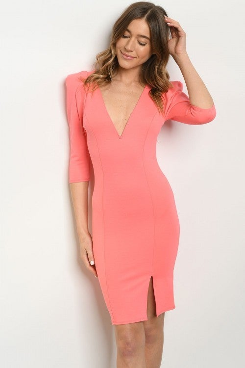 Neon Pink Bubble Shoulder Stretchy Fitted Party Dress *Final Sale*