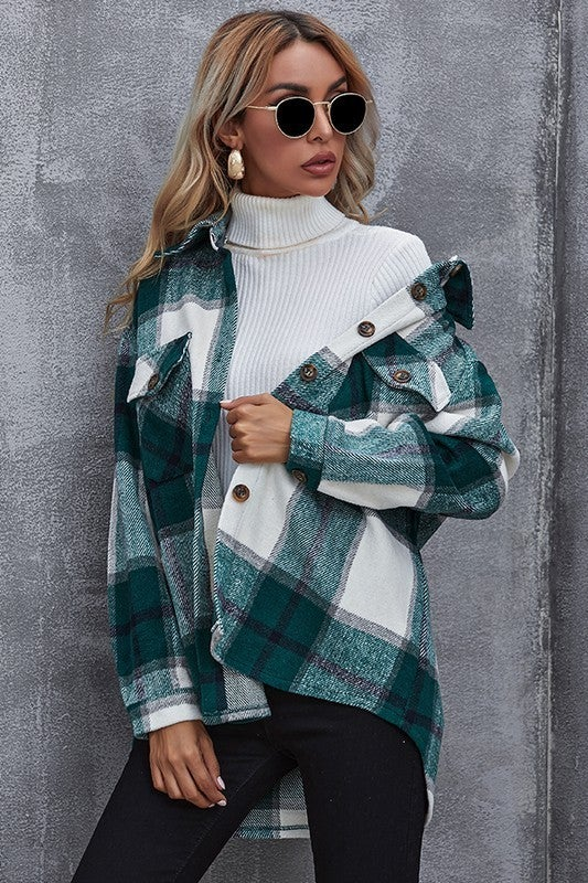 Teal Plaid Thick Woven Relaxed Fit  Button Up Flannel
